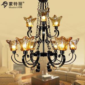 China Matte Black Vintage Amber Drawbench Antique Chandelier Pendant Lighting , E27 Light Base on sale