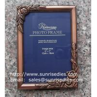 Metal rose picture frames in stock, emboss rose metal photo frames wholesaler in China