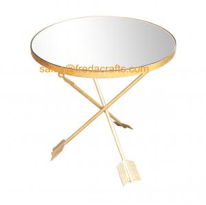 China Direct Factory Price Mirror Top Metal Based Side Top Gold Finish Livingroom Side Table on sale