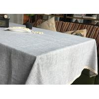 Customized Patchwork Decorative Table Cloths Gray / Ivory Cotton Linen Tablecloths