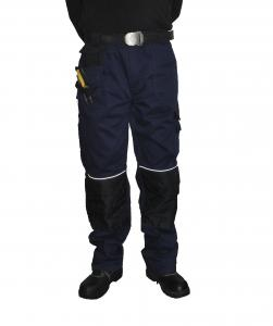 China Fashion Heavy Duty Men'S Work Uniform Pants With Decorative Reflective Piping on sale