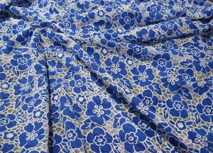 China Knitted Cotton Polyester Lace Fabric Blue with Burnout Flower Lace(CY-DK0019) on sale