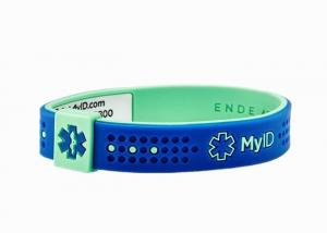 China Unique QR Code My ID Wristband Double Colors Silicone Sport ID Bracelet on sale