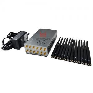 China 12 Antennas Cell Phone Signal Jammer UHF/VHF/2G /3G / 4G / Wireless Camera 1.2GHz on sale