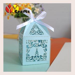 China Indian wedding door gift boxes luxury money invitation box blue on sale