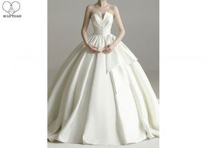 China Cream Satin Beautiful Ball Gown Wedding Dress Strapless Big Bow Pleating on sale