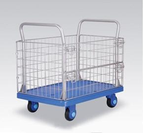 China Mute storage cage utility trolley, material moving plastic noiseless cage hand cart on sale