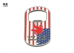 China Metal Dog Tag Hand Held Beer Bottle Opener Custom Us Style , Silver Color Plating on sale