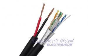 China Siamese Network Cable FTP CAT5E 24AWG Solid Copper with 2x0.75mm2 CCA Power Wire on sale