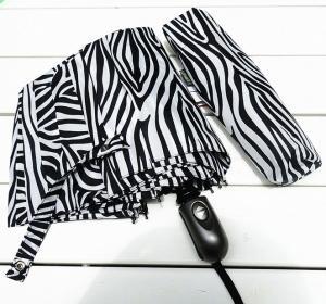 China 3 Folding Black and White Ladies Rain and Sun Umbrellas on sale