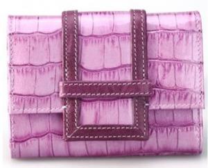 China carteras púrpuras de cuero Cocodrilo-grabadas en relieve de los titulares de la tarjeta de crédito de la mujer on sale