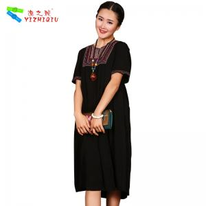 China Simple Long Linen Dresses , Ladies One Piece Dress Mexican Embroidered on sale