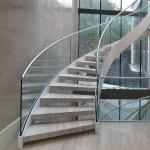 Modern Design Internal Design Solid Wooden Tread Curved Staircase