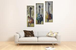 China 3 Pcs 3 Colors Guitars Ribbon Panels Paintings For Hotel on sale