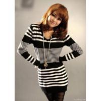 Ladies Striped Sweater V-neck Dresses