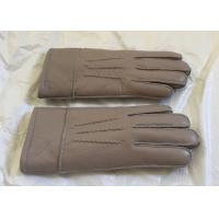 Double Face Mens Sheepskin Lined Leather Gloves Soft Warm For Winter / Driving