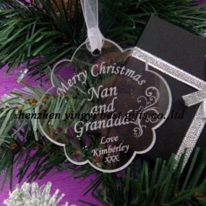 China Acrylic Personalised Christmas tree decoration New year keepsake gift with box on sale
