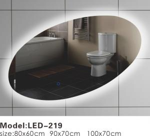 China Oblique Oval Touch LED Bathroom Mirror , LED Backlit Vanity Mirror Optional on sale