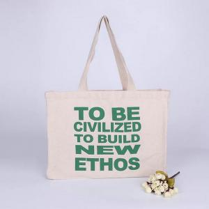 China Long Rope Green Canvas Tote Bag / Recycled Small Canvas Shopping Bags on sale
