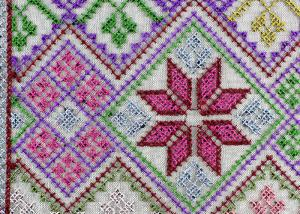 China Multi Colored Cross - Stitched Embroidery Lace Fabric From Schiffli Lace Machine on sale