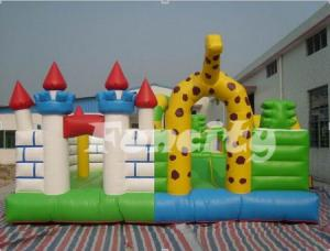 China Safety Giraffe Paradise Inflatable Fun City Play House For Bouncing / Skipping on sale