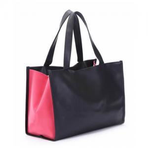China Custom Black PU Leather Tote Bag With Thermal Transfer Logo ODM on sale