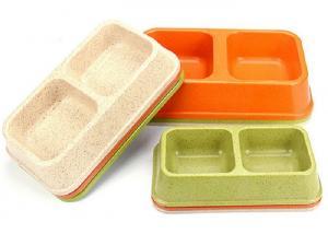 China Medium Sized Plastic Pet Bowls Bamboo Powder Rice Orange Color 275g Eco Friendly on sale