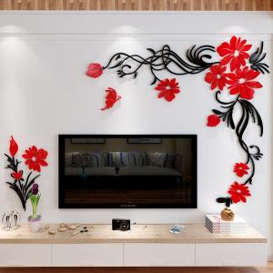 China 3D Flower  Acrylic wall stickers Living Room Sofa wall decor decals  decoration wall decal on sale