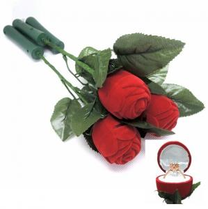 China Ceremony Promotion Jewelry Velvet Box Red Rose Shaped With Fast Flashing LED Lights on sale