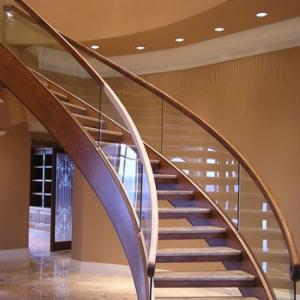 China 2018 cheap price Safety wood Tread with Stainless Steel Beam Indoor Curved Staircase on sale