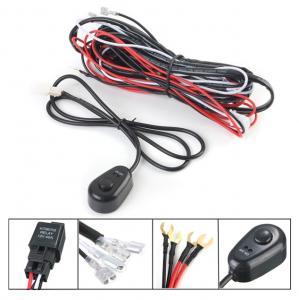 China 12V 2.5m LED Light Bar Wiring Harness Kit For Car Black , Red Color on sale