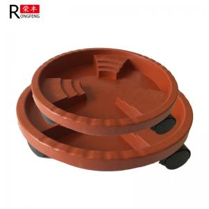 China Brown Color Plastic Flower Pots Saucers Plant Pot Water Trays With Wheels on sale
