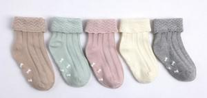 China Customed color knitted cute embroidery Kids Cotton Socks on sale