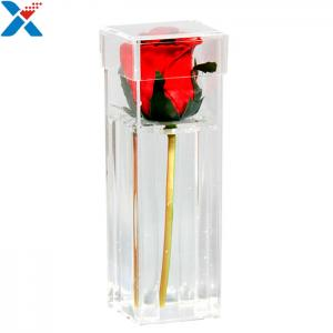 China Waterproof Transparent Mini Acrylic Storage Containers Plastic Single Rose Box on sale