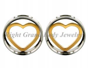 China 12mm Stainless Steel Screw On Ear Flesh Tunnels With Gold Heart For Girl on sale