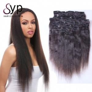 China Yaki Straight Virgin Clip In Hair Extensions Long Human Hair Extension Natural Black Color on sale