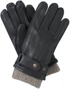 China Wool Lined black tight leather gloves with Belt on sale