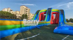 China Customized Giant Rainbow 3 Lanes Inflatable Water Slides Commercial For Adult And Kids on sale