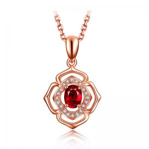Natural Gemstone Gold Jewelry Solid 18k Genunie Diamond And Ruby Pendant Necklace