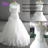 China 2014 Latest Fashion C-005 Designer Customized Handmade Beaded Lace Wedding Gown on sale