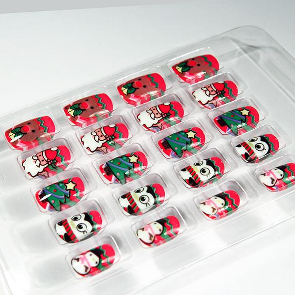 Cute Christmas Fake Nails Colorful Full Cover Artist Nail For ...