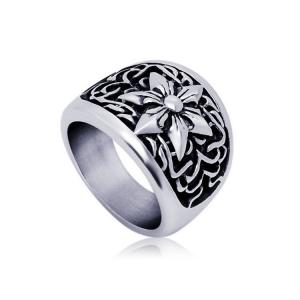 China Fashion Men's Vintage Old Titanium Stainless Steel Hexagram Ring (SA336) on sale