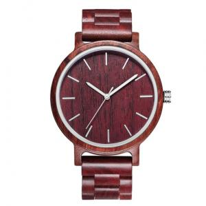 China Red Sandal Wooden Quartz Watch Custom Logo High Durability For Gift on sale