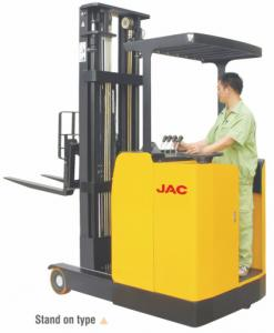 China Stand Up High Lift Reach Truck Forklift 1 Ton Low Noise Max Lift Height 6.2m on sale