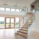 American white  stair unique design wrought iron cuvred rod  balustrade stair open riser wood circular spiral staircase