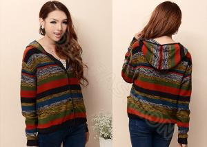 China Fancy V Neck Womens Cardigan Sweaters anti-wrinkle with Multicolored stripes , Full Sleeves on sale