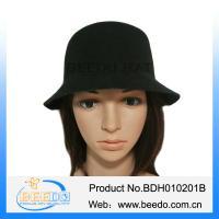 Black felt short brim vintage cloche bowler hat