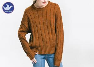 China Anti - Pilling Brown Womens Knit Pullover Sweater Soft Rib Knitting Apparel on sale