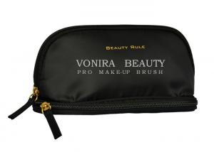 China High Quality Black Small Double Zipper Makeup Brush Bag Travel Toiletry Holder on sale
