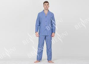 China Yarnd Dyed Striped Mens Luxury Sleepwear With Button Through Shirt And Long Pants on sale